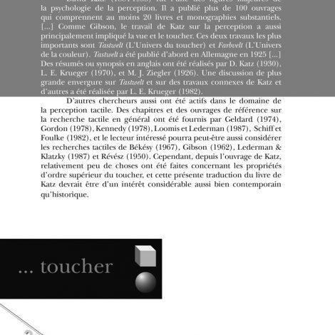 """Couverture du titre """"L'univers du toucher"""""""
