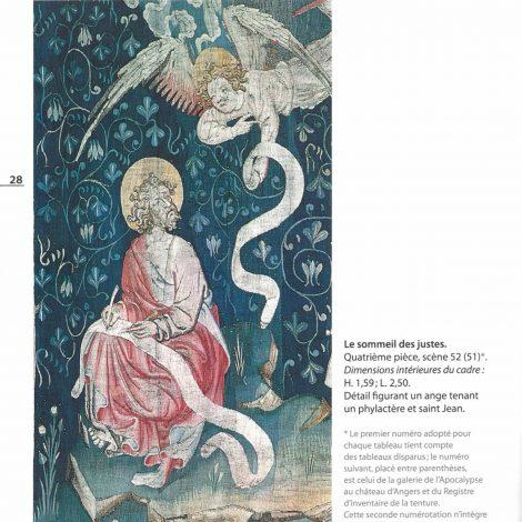 page extraite du livret d'accompagnement représentant une photo d'un détail de la tenture intitulée Le sommeil des justes