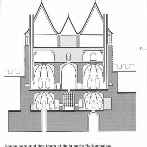 page extraite du livret d'accompagnement représentant une illustration contrastées en noir et blanc de la porte Narbonnaise