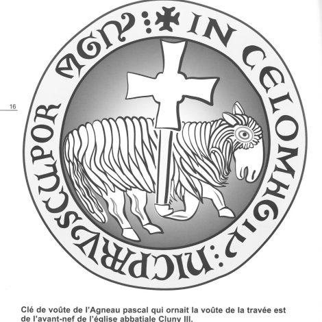 Illustration contrastée en noir et blanc, extraite du livret d'accompagnement, représentant la clé de voute de l'Agneau pascal qui ornait la voute de la travée est de l'avant nef