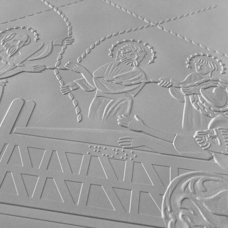 Photo d'un détail d'une planche gaufrée