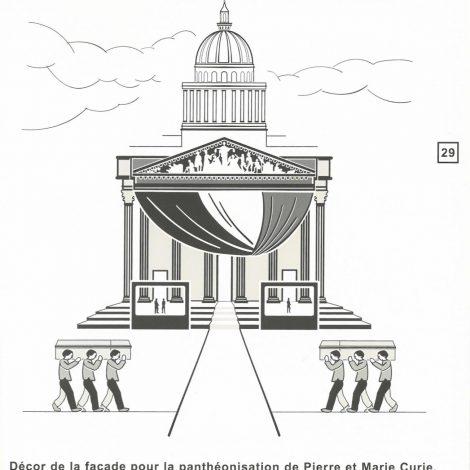extrait du livret d'accompagnement représentant en illustration contrastée en noir et blanc la façade du Panthéon
