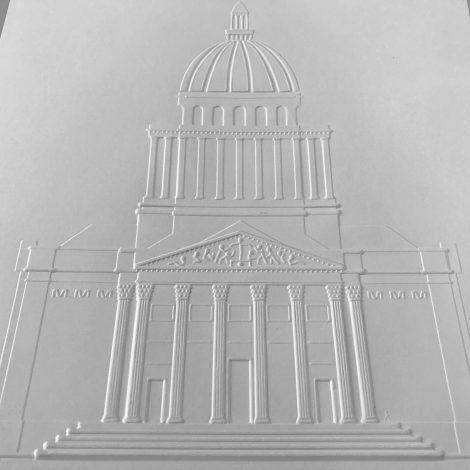 photo détails planche gaufrée représentant la façade du Panthéon