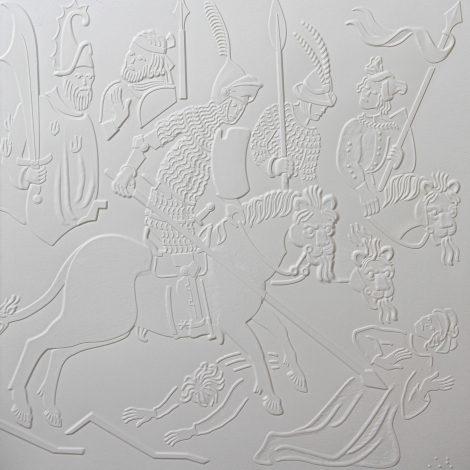 photo détails illustration tactile représentant un chevalier en armure sur son cheval