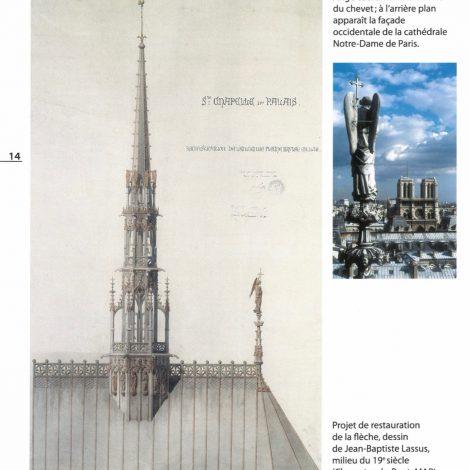 extrait du livret d'accompagnement représentant une photo de la statue d'ange couronnant la toiture et d'un croquis de restauration de la fleche