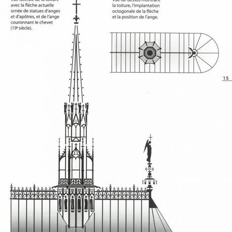 extrait du livret d'accompagnement représentant une illustration contrastée en noir et blanc de la vue latérale de la toiture avec la flêche actuelle