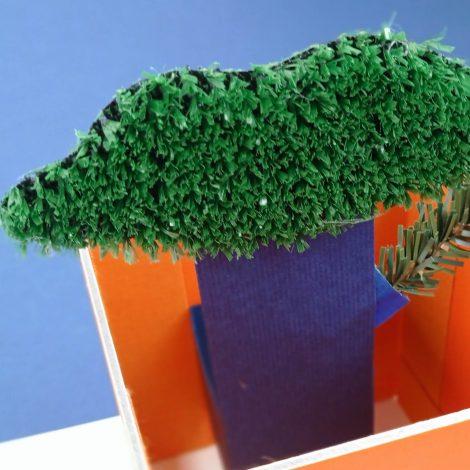 vue du dessus pop-up arbre encerclé de murs