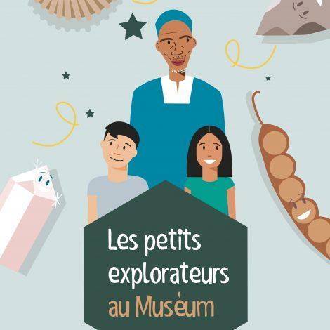 Sur la couverture blanche, on peut voir deux enfants joyeux, Charlie et Katia, accompagnés du magicien africain Kamo. Autour d'eux gravitent des éléments du musée : fossiles, silex et minerais.